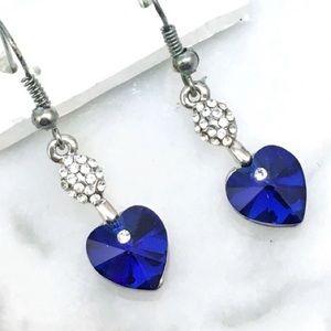 Blue Crystal Heart Earring